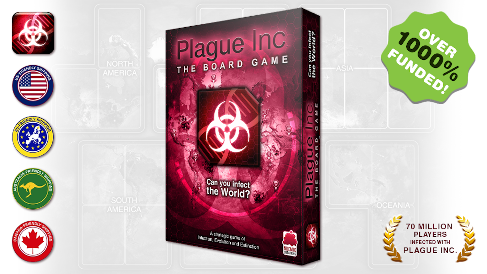 Can you infect the world? In this strategic board game, 1-5 players evolve deadly plagues and battle to be first to wipe out humanity!