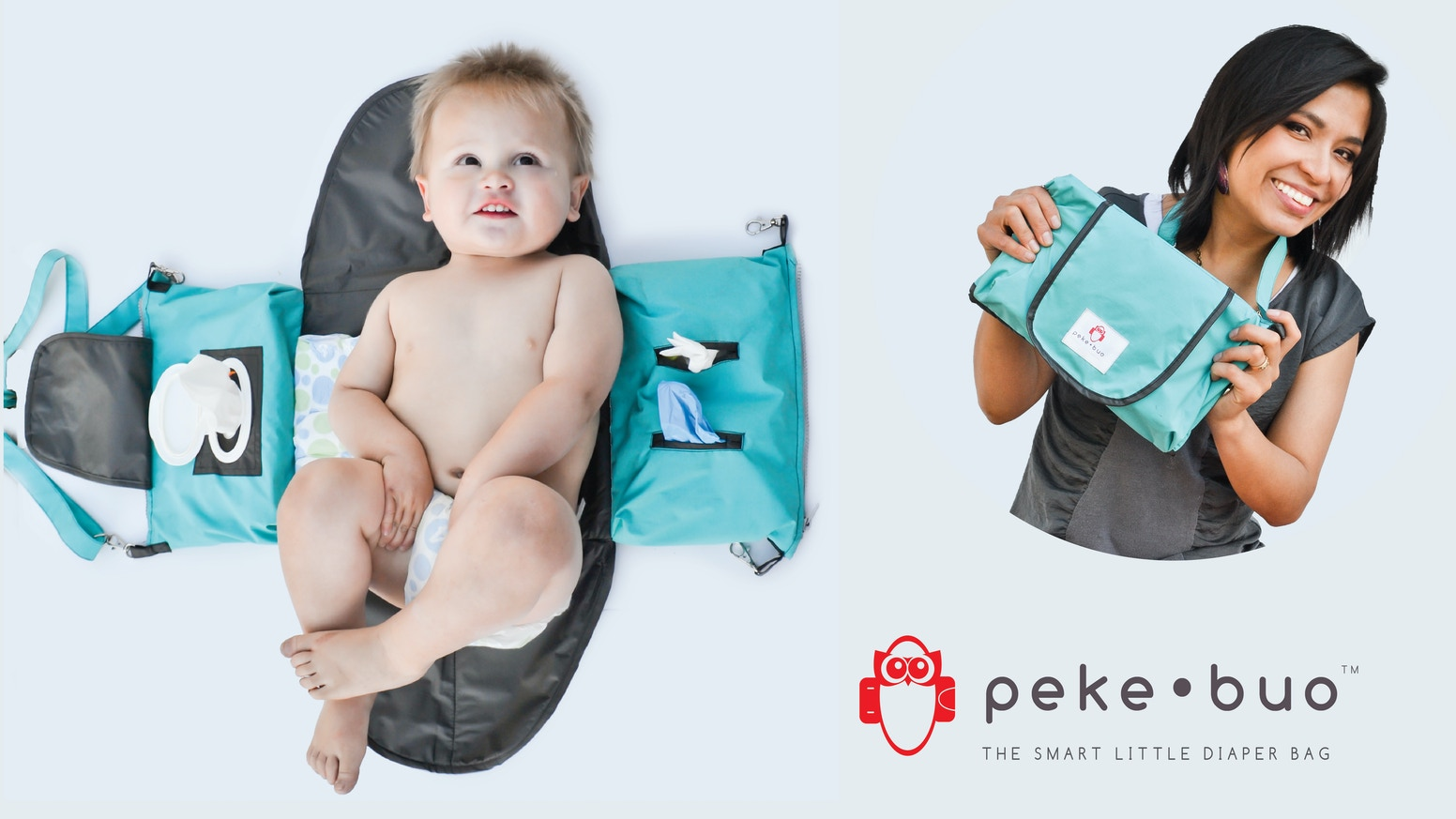 The diaper bag, revolutionized - super compact, unfolds into a changing station, instant access to everything you need for baby.