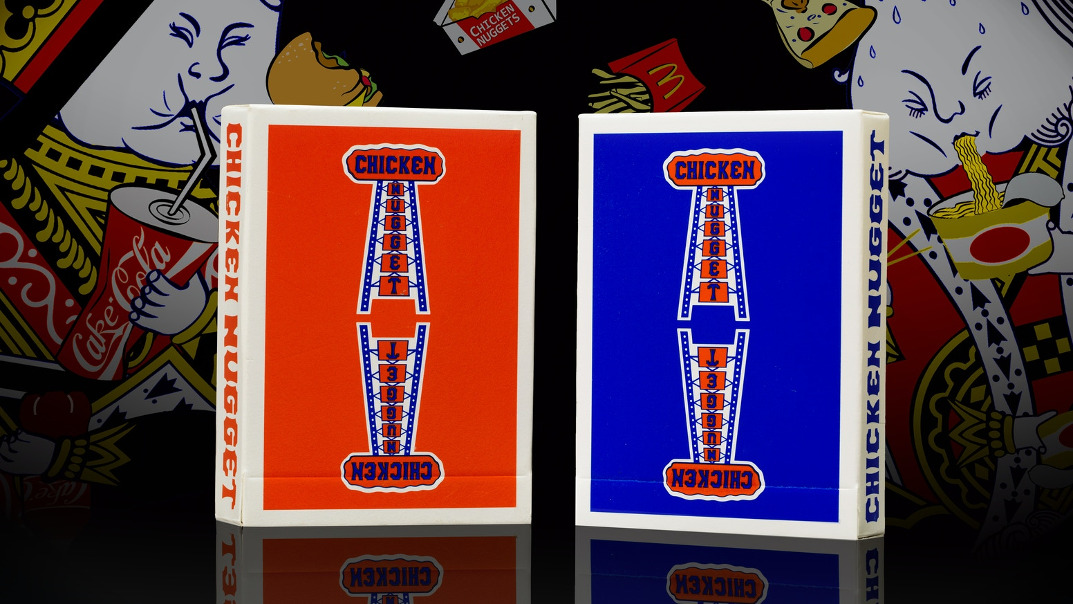 Vintage. High quality. Hilarious. A modern rendition of the legendary Jerry's Nugget playing cards. Meet the Chicken Nuggets.
