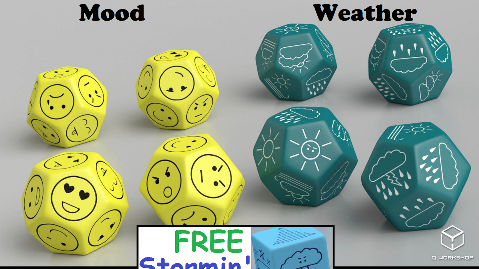The d12s you've always wanted: Mood and Weather dice!