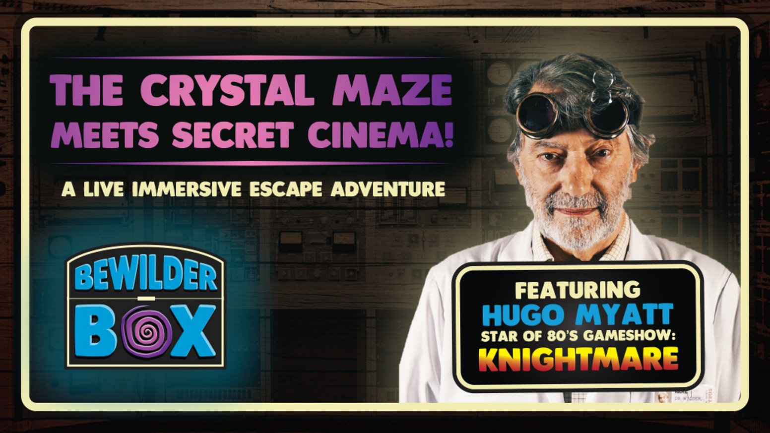Based on the popular escape room concept; an original and exciting immersive group activity, starring Knightmare's Hugo Myatt.