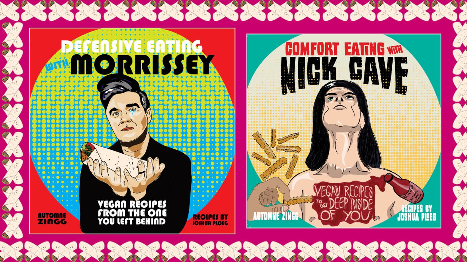"Illustrated vegan cookbooks to soothe your troubles by ""goths eating things"" artist Automne Zingg and traveling chef Joshua Ploeg. You can order the books directly from Microcosm."
