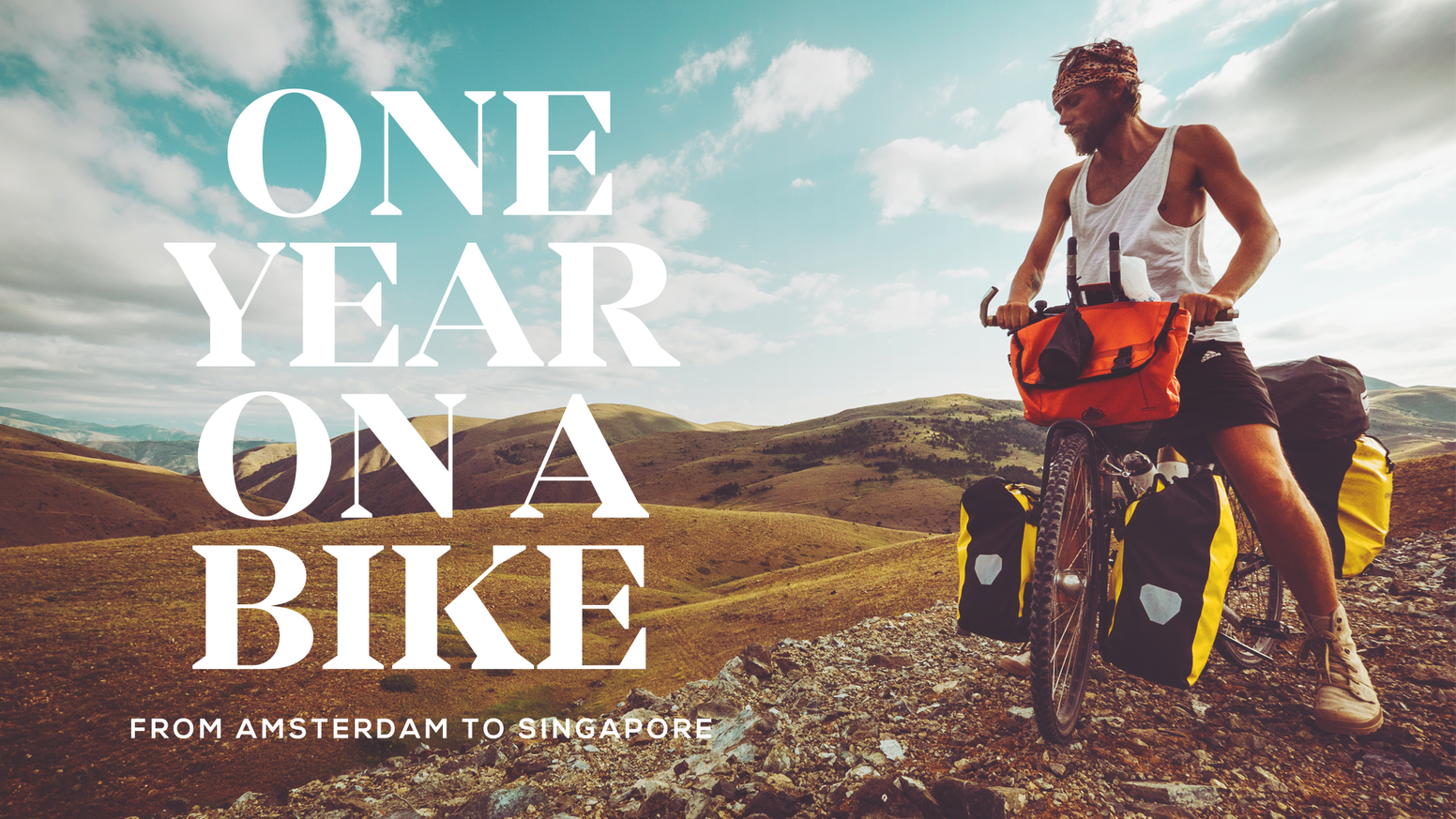 An adventure story of a solo bike traveller cycling from Amsterdam to Singapore, captured in a photo book.