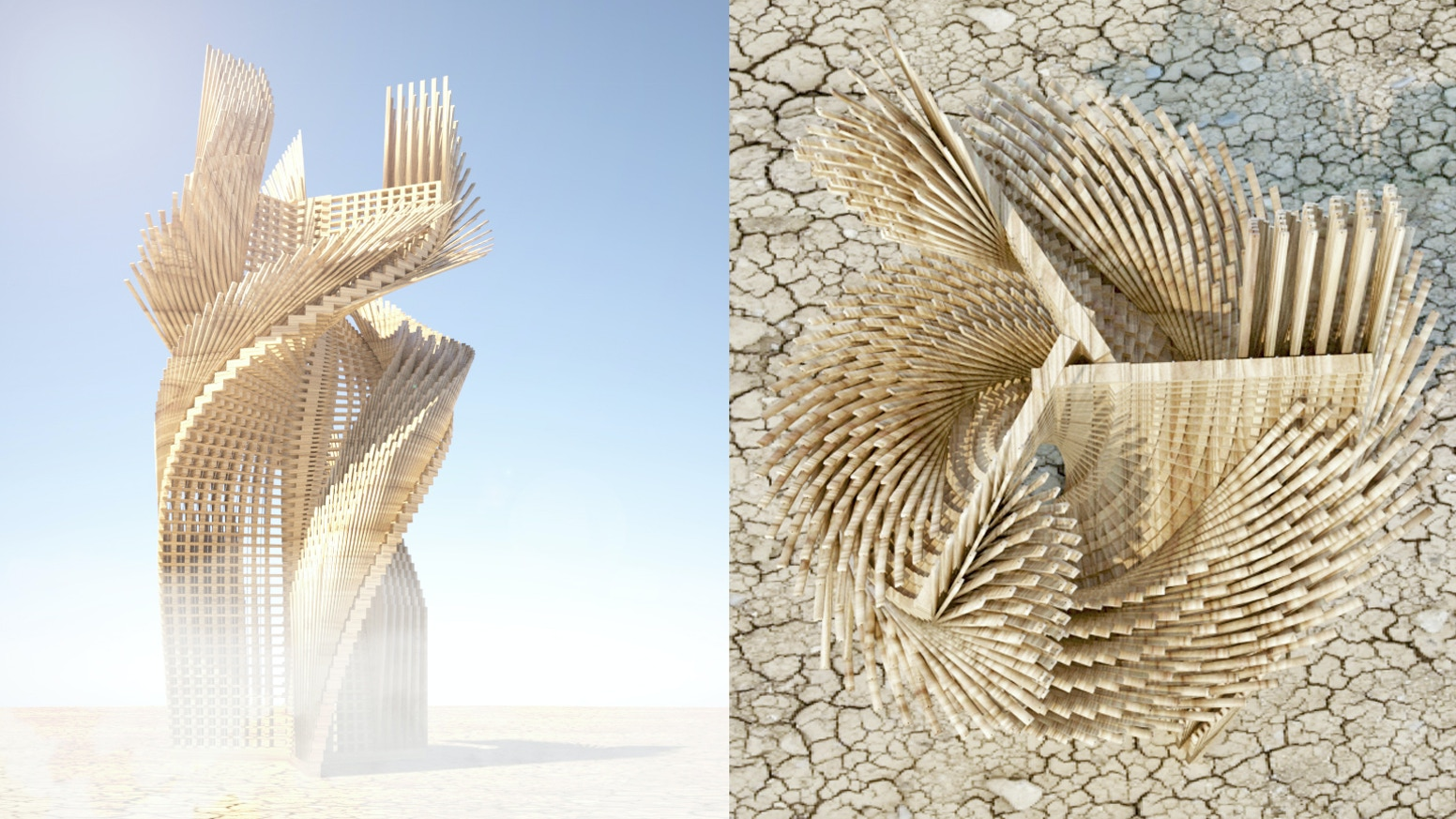 Tangential Dreams is an Architectural Installation for the Burning Man Festival 2016 and a statement for a new kind of Architecture.