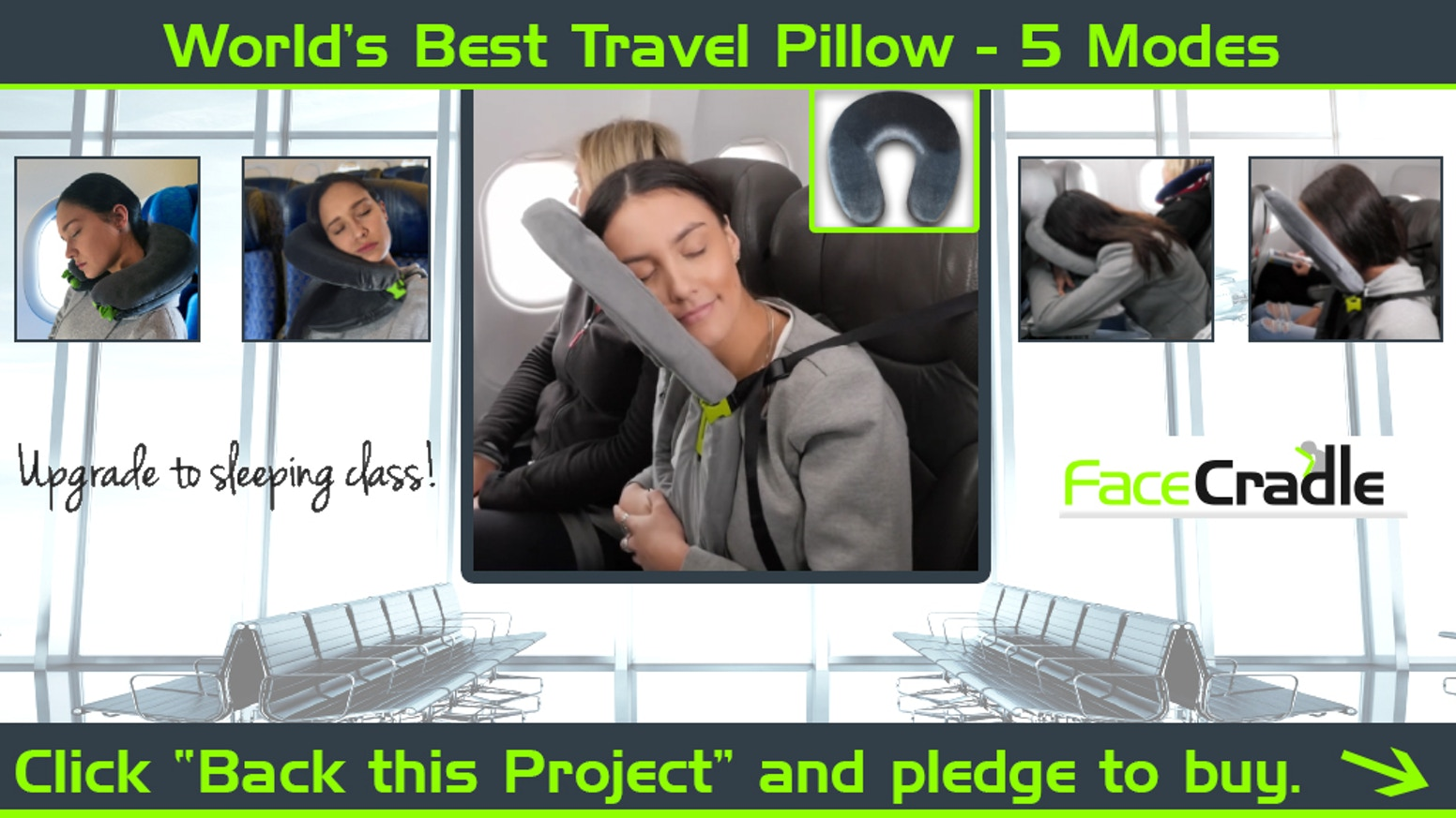 """Upgrade to Sleeping Class"" - FaceCradle Travel Pillow!   With 5 comfort modes, 4 more than a regular neck pillow, now you can sleep!"