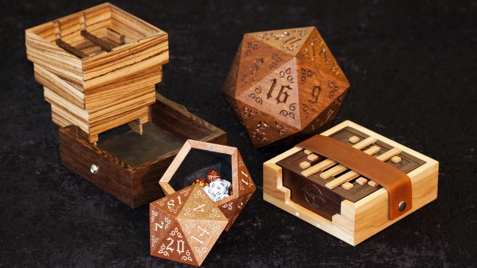 Handcrafted Premium Hardwood Dice Cases & Dice Towers