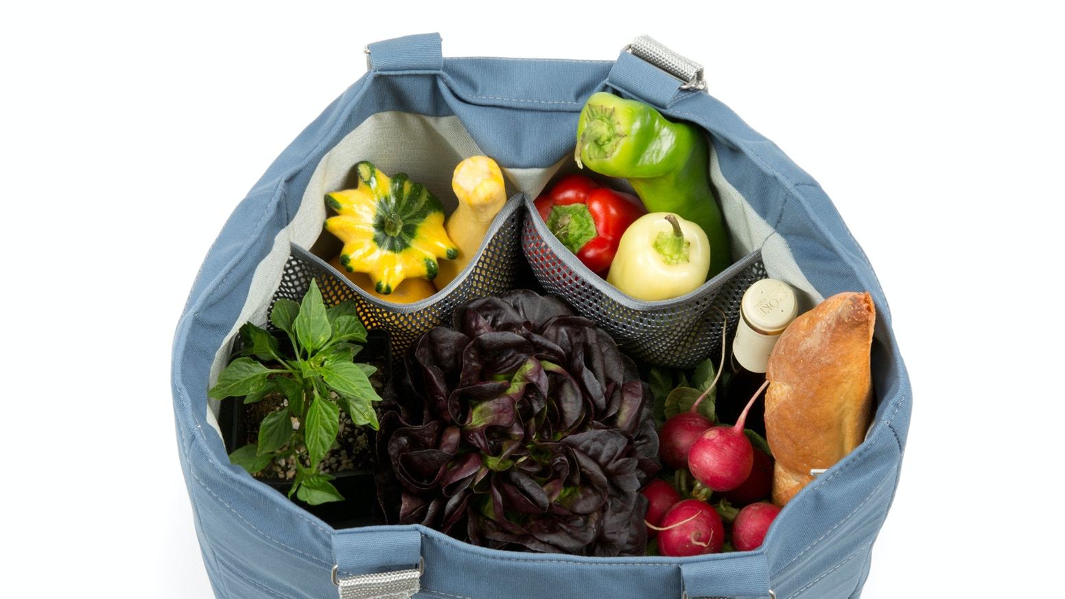 A smart grocery tote that organizes, insulates and protects your  market finds with adjustable compartments and an innovative shelf.