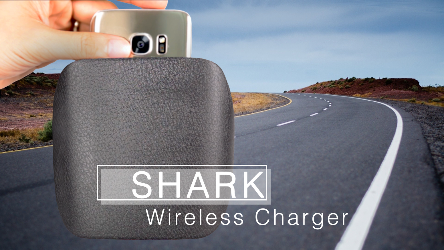 SHARK wireless charger, a new breed of universal car charger that charges cellphones and encourages good driving habits.