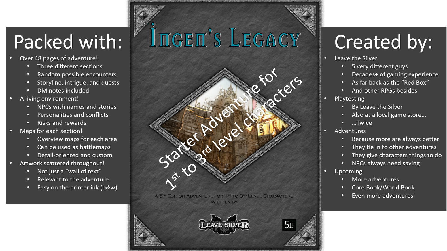 Ingen's Legacy is an adventure module for a 5e fantasy roleplaying campaign that can be dropped into any existing setting.