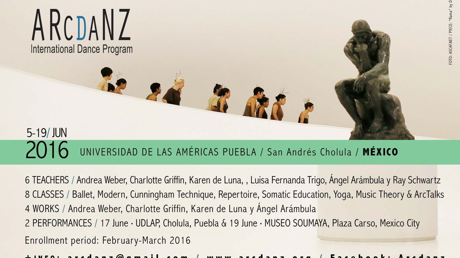 Bring Andrea Weber to teach Cunningham Technique® & Repertory, Angel Arambula of Lux Boreal & U.S.A. students to Mexico this summer!