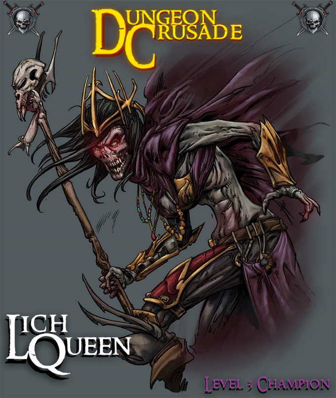 . The Lich Queen was created by Cornerstone Creative Studios. They will be bringing the Heroes and Monsters of Dungeon Crusade to life with a retro look. but with a dash of modernization.