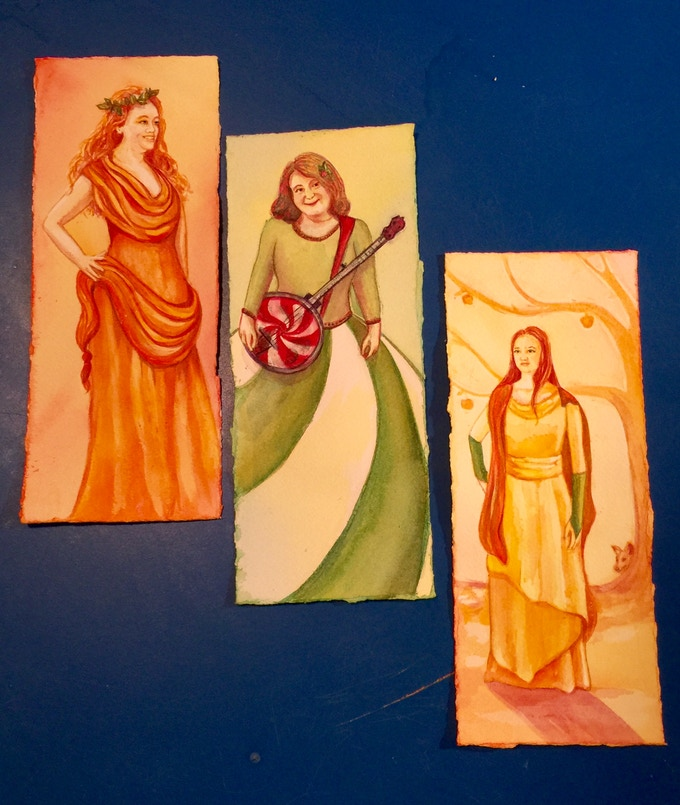 Three of the Peppermint Ladies: Judi Miller as Galatea, Brooke Abbey as Peppermint Lady, and vixy Dockrey as Idunn (art by Starr Weems)