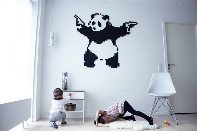 "Street art, Banksy ""Panda with guns"""