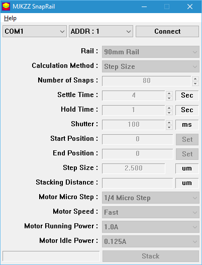 Stacking and Motor Control Software for PC