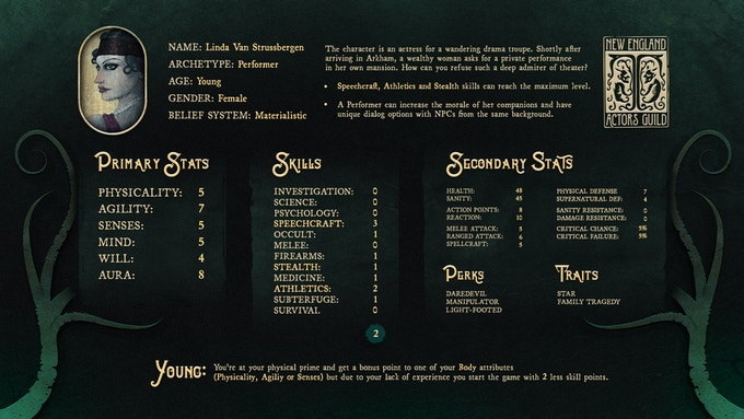 Character creation screen of the Performer Archetype.