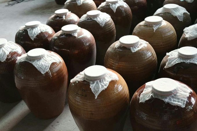 Our vinegars are brewed inside these earthen jars.
