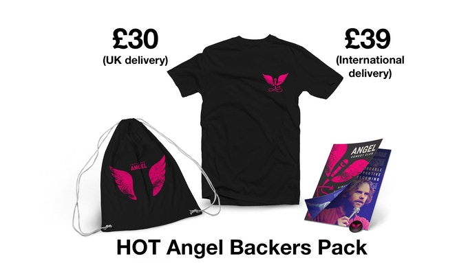 Includes Angel Comedy badge + zine + tote bag + t-shirt + delivery
