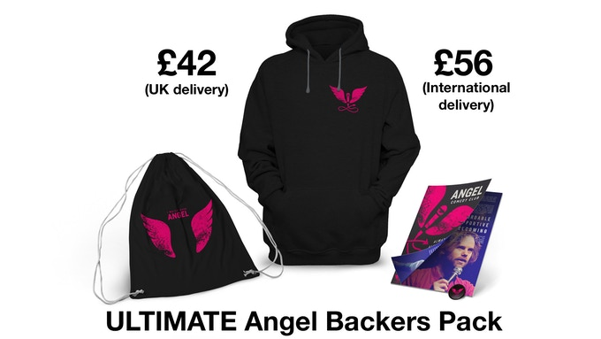 Includes Angel Comedy badge + zine + tote bag + hoodie + delivery