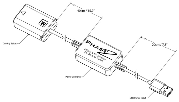 Phase2 External USB Battery for Sony A7, A6300 & NEX