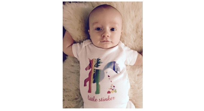 What is cuter then a Poop Heart Little Stinker Onesie? A baby in the Little Stinker Onesie!! Cuteness overload!