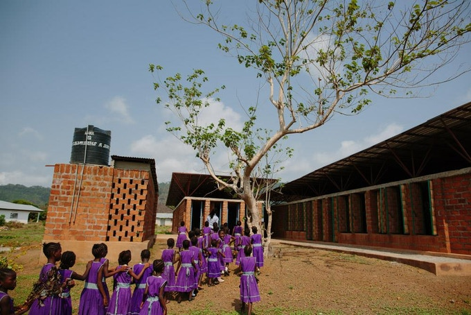Swawou school pupils on their first day in the new school in 2016.