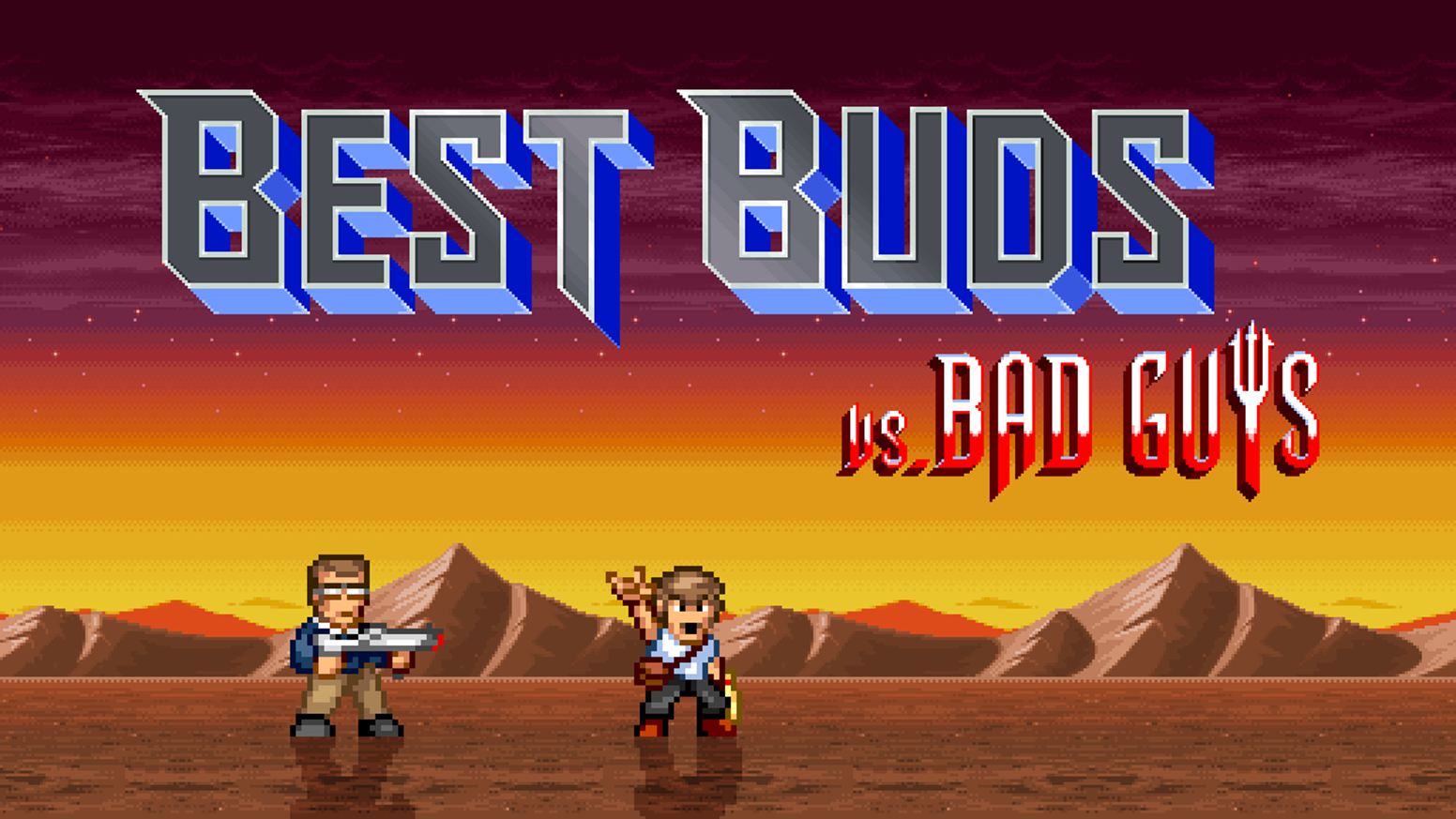 Best Buds VS Bad Guys is an ultra-explosive retro pixel run 'n' gun from a game developer Dad and his 11 year-old son.