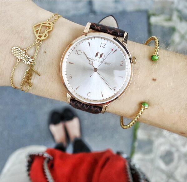 Violette wearing her brand new Bisham watch