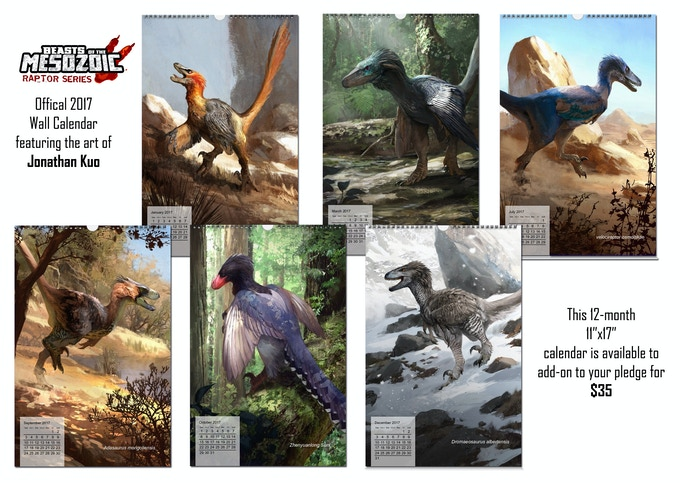 Beasts of the Mesozoic 2017 wall calendar sample