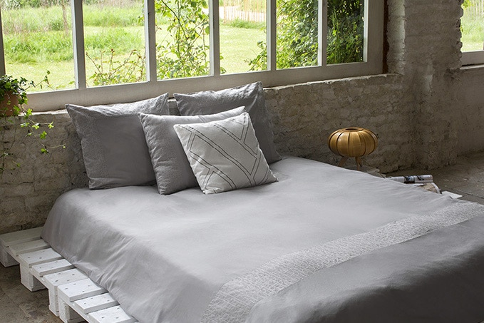 Boreal duvet cover with Krill pillow cases and Geometric throw cushion