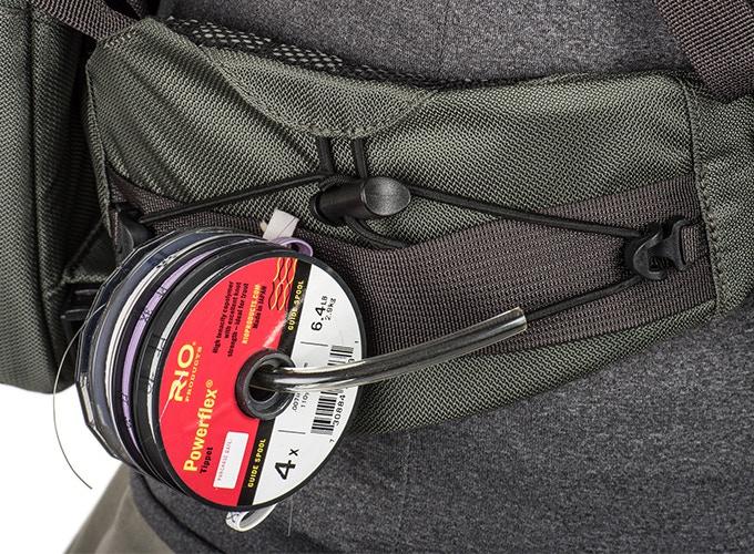 Removable tippet holder on waistbelt