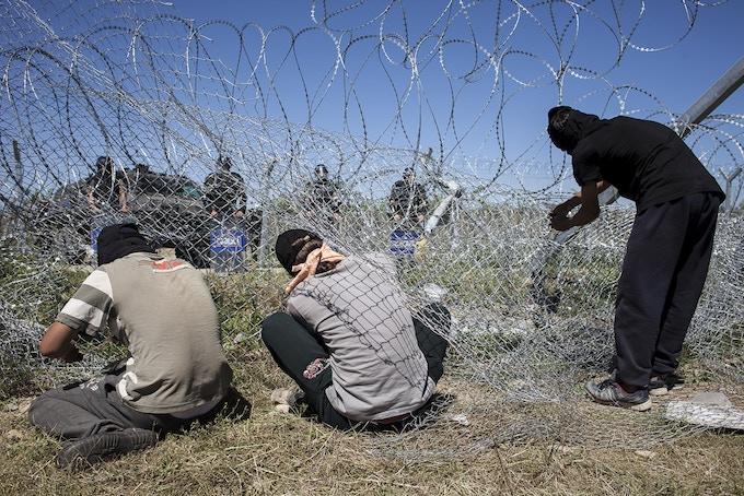Syrian refugees at the border between Idomeni and Macedonia. Foto: Bruno Tigano