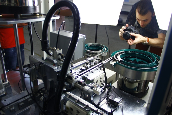 Calder at Flaretech switch assembly machine.