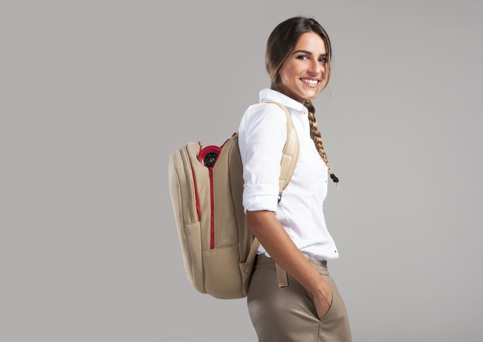 The Beige Backpack is a compact size and shape ideal for men and women
