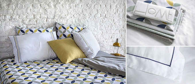 Oslo duvet cover with Hedeby (front) & Obisco (back) pillow cases and Comfy throw cushion