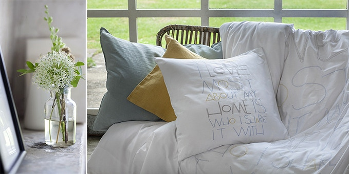 Kiruna duvet cover with Home pillow case and Comfy throw cushion