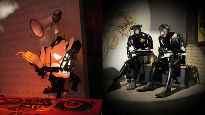 Two of Giles' robotic creations: Mike Free (l) and Communications Breakdown (r)