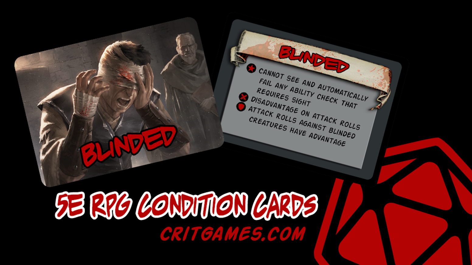 Beautifully illustrated and functional Condition Cards and Combat Cards to enhance your 5E tabletop role-playing experience.Available after Kickstarter on http://shop.critgames.com