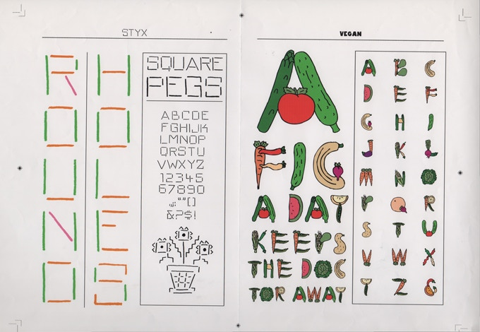 """For $125: """"Styx and Vegan Alphabets,"""" ca. 2006, giclée (digital) print, 15 x 19 in., signed, plus a copy of """"At War with War."""""""