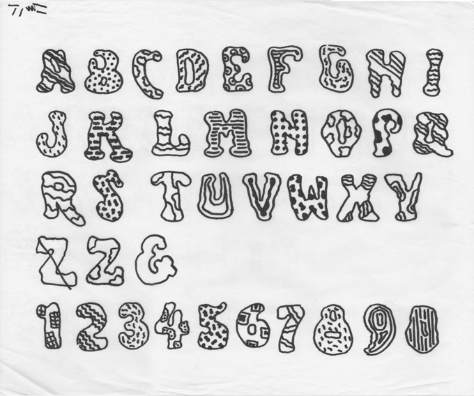 """For $200: """"Alphabet,"""" ca. 2006, marker on paper, 14 x 17 in.,  signed, plus a copy of """"At War with War."""""""