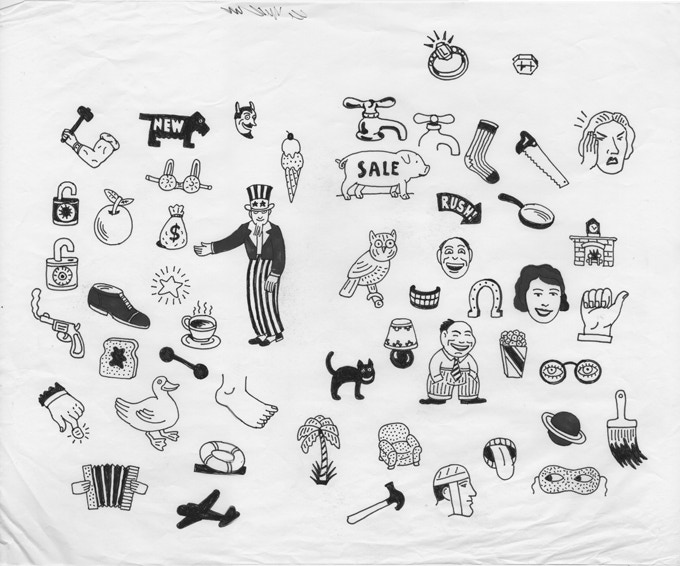 """For $200: """"Dingbats,"""" ca. 2006, marker on paper, 14 x 17 in.,  signed, plus a copy of """"At War with War."""""""