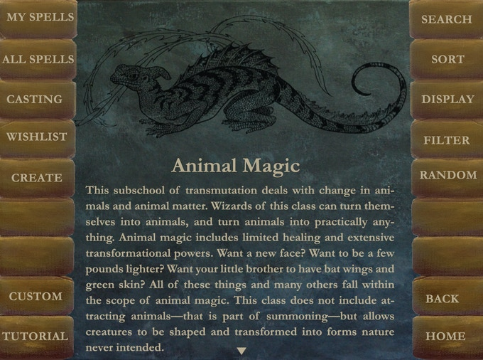 Opening page of a class of magic