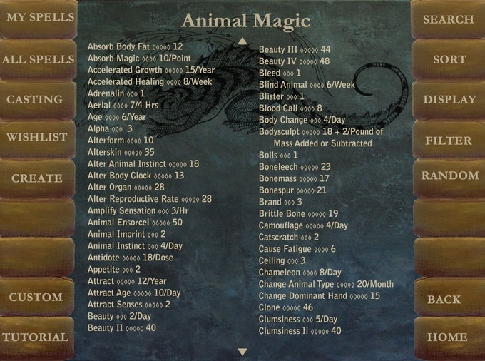 Look at complete spell lists without descriptions
