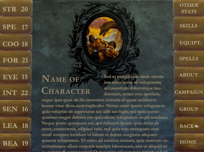 Sample character, open to the character description
