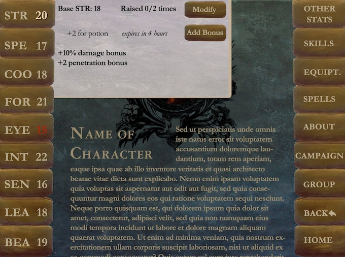 Sample character with a stat window expanded