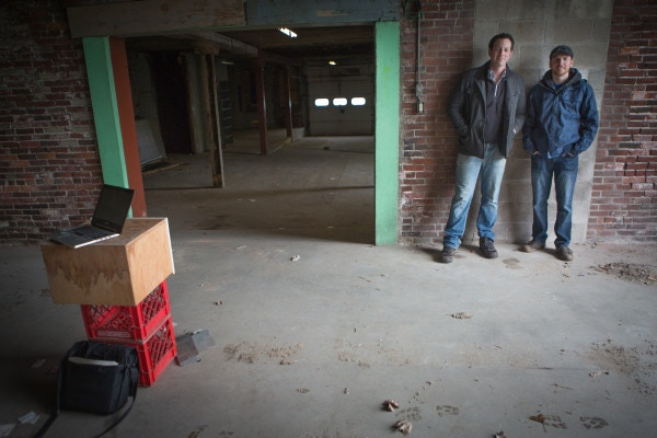 Eric (left) and Neil (Right) in the soon-to-be Tasting Room. Photo by Tory R. Bennett for Bangor Daily News