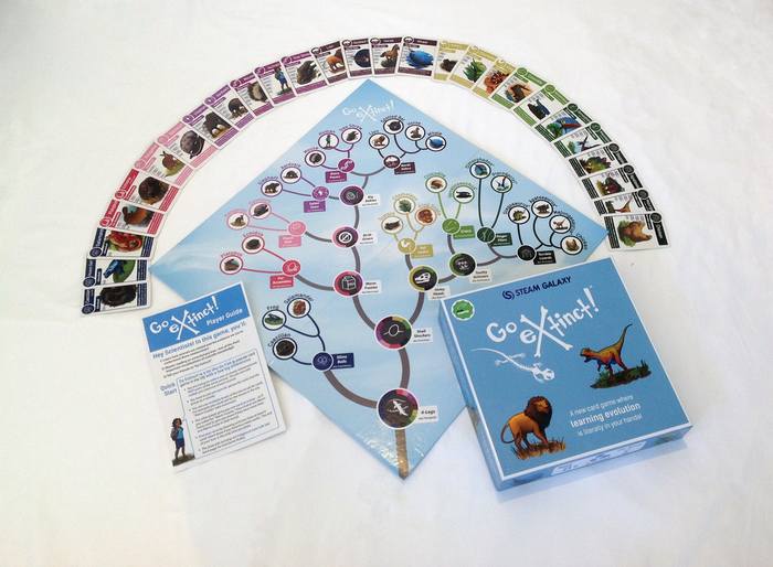 Lions and Dinos and Frogs, oh my! Go Extinct! is Go Fish evolved. Teaches humans 8 and up how to read evolutionary trees with gorgeous original artwork.