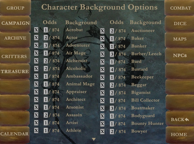 GMs can change what backgrounds and skills are available to characters in different campaigns