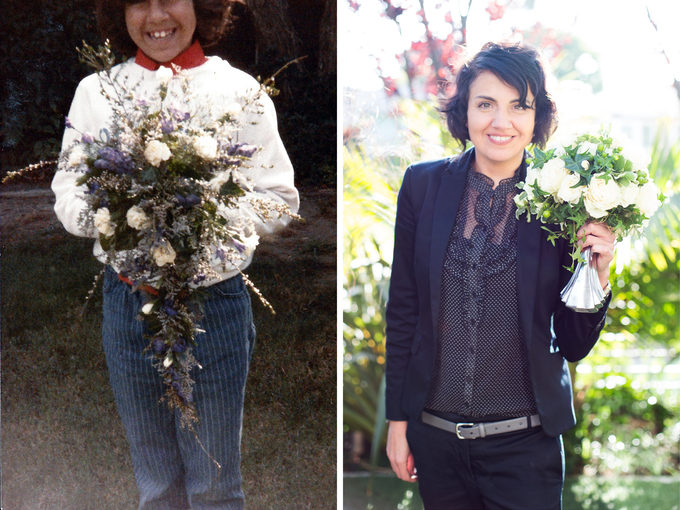 My mom worked as a floral designer when I was a kid and here I am on the left holding one of her first bouquets. And that's me on the right holding my Boozy Bouquet!