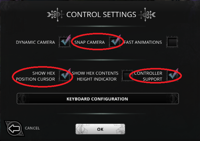 Suggested controller settings