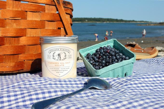 Caramel Sea Salt Gelato with a side of Blueberries from Gelato Fiasco
